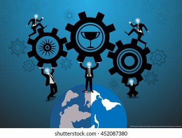 Vector business for ideas and creativity in the business world with a world map, gears and lamps, flat design