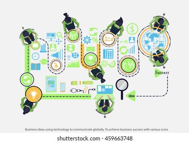 Vector business ideas using technology to communicate globally to achieve business success with various icons flat design