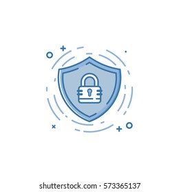 Vector business illustration of blue colors protection shield and lock icon in linear style. Graphic design concept of web security guard. Outline object. Use in project and mobile applications.