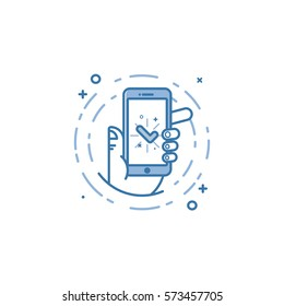 Vector business illustration of blue colors hand and mobile phone icon in line style. Graphic design concept of success operation app on the screen. Use in Web Project and Applications. Outline object
