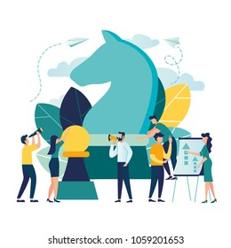 Vector business illustration, businessmen plan a business plan strategy, concept of strategic movement, great chess