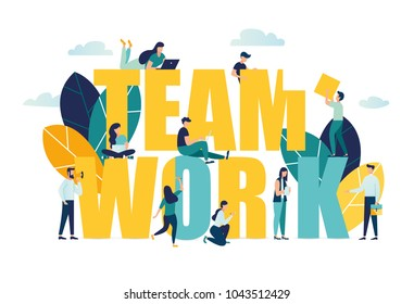 Vector business illustration, businessmen together build word teamwork, abstract design graphic, construction business project vector