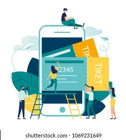 vector business illustration buying tickets online through your smartphone. schedule design tickets are printed from the phone.