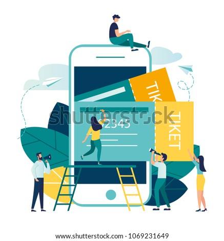 vector business illustration buying tickets online stock vector