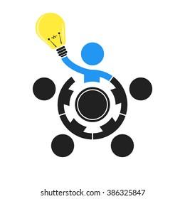 vector business illustration concept Creative idea lamp
