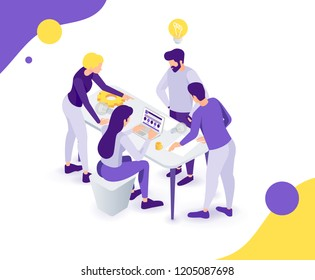 vector business illustration. A creative team of people working on a project, a team analytic brainstorming method. Teamwork at the idea. 3d vector isometric stylish graphics for banners and advertisi