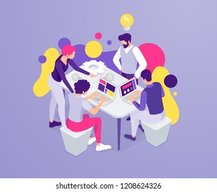 vector business illustration. A creative team of people is working on a startup idea. Collective joint work. Vector flat isometric stylish graphics for banners and advertising.