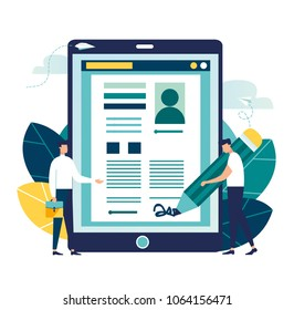 Vector business illustration, electronic signature, little people sign a document, Financial Business Agreement. Web Contract. online document. Isolated Illustration