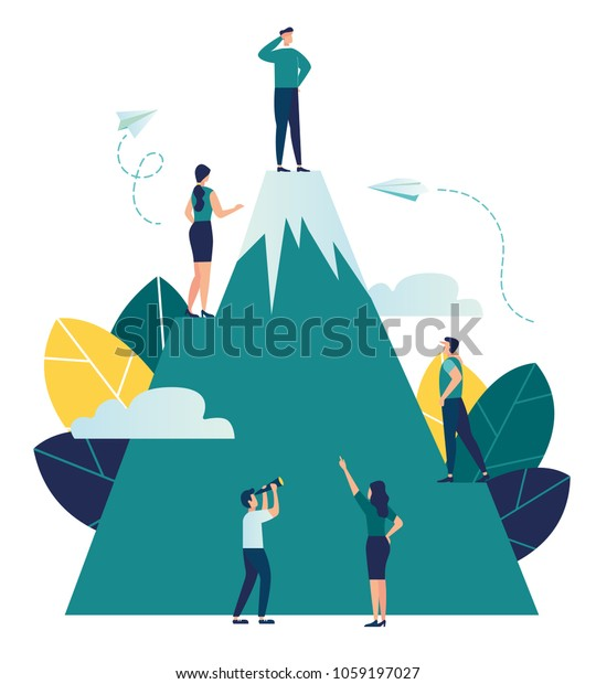 VektorBusiness Illustration, Mitarbeiter suchen einen Weg zu ihrem Ziel, besteigen einen Berg, der die Spitze nehmen würde, in die Zukunftsperspektive schauen würde