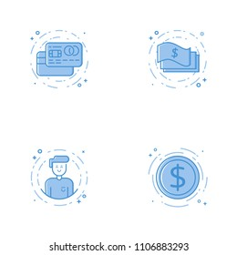 Vector business Illustration in filled bold line style. Set of outline cute and simple icons with credit cards, cash, character and coin. Use in Web Project and Applications Outline isolated object.