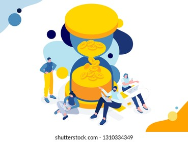 Vector business illustration, flat isometric. tiny people working on project. Metaphor illustration time is money. saving time - Saving money, business development and financial investments. fast loan