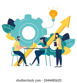 vector business illustration a group of people characters are thinking over an idea. prepare a business project start up. rise of the career to success, flat color icons, business analysis
