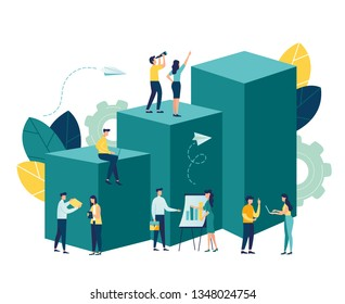 Vector business illustration, leadership qualities in a creative team, direction to a successful path, overcoming obstacles on the way to success, high level of work, the team rejoices the winner - Ve