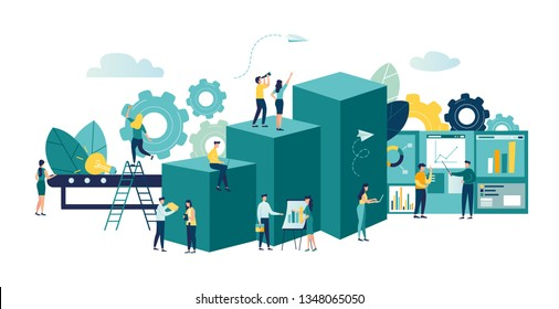 Vector business illustration, leadership qualities in a creative team, direction on a successful path, overcoming obstacles to success, high level of work, the team rejoices over the winner, productio