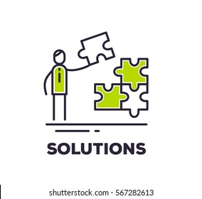Vector business illustration of a man holding a piece of puzzle and collects it on white background with title. Solutions creative linear concept. Flat line art style design for web, site, banner
