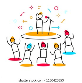 Vector business illustration of a man performs on stage surrounded by crowd. Stand up party creative linear concept. Flat line art style design for web, site, banner, poster, presentation