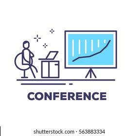 Vector business illustration of a man sitting in a chair next to the large blue stand on a tripod with growth graph on white background with title. Conference creative linear concept. Thin line style