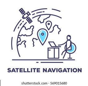 Vector business illustration of a man sitting in a chair next to the large screen with planet on white background with title. Satellite navigation creative linear concept. Flat thin line art style