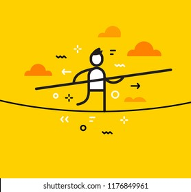 Vector business illustration of man with a stick in his hand walking on a tightrope. Play all in and take risk creative linear concept. Flat line art style design for web, site, banner, presentation