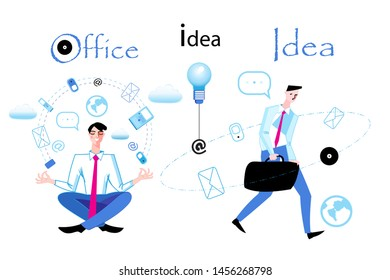 Vector business illustration with managers in work on a white background. An example of drawing managers with ideas and subjects.