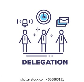Vector business illustration of men in suits standing together and icons on white background with title. Delegation creative linear concept. Flat thin line art style design for web, site, banner