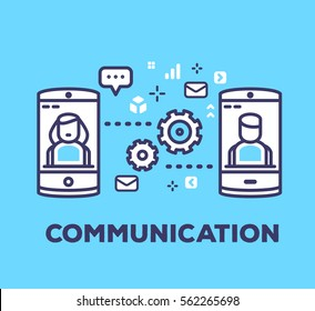 Vector business illustration of mobile phones sending sms, mail, chatting on blue background with icons. Communication creative linear concept. Flat line art style design for web, site, banner, poster