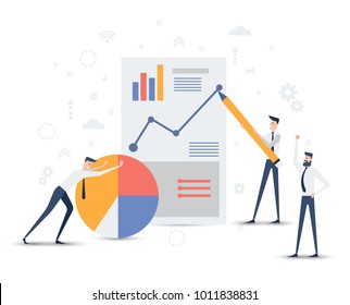 vector business illustration. people build a successful company on a professional basis. competitive intelligence and business analytics. tools to improve the effectiveness of sectoral programs