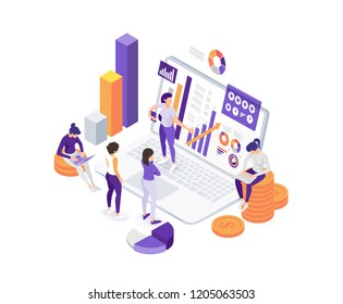vector business illustration. people are working on data analysis and internet market research. team work on company data. Vector flat isometric stylish graphics for banners and advertising.