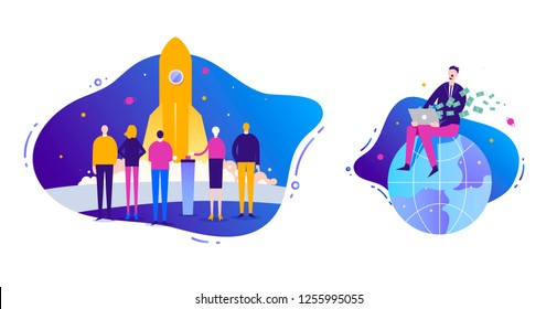 Vector Business illustration set. Start up concept. Rocket launch. Man sitiing on the globe. Earning money in the internet, freelance, business online. Fluid background