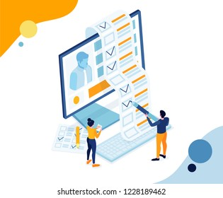vector business illustration. small people fill out an application form for job. people take test exam. view and fill resume for job vacancy. trendy isometric graphic design paper Filling