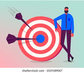 Vector business illustration, stylized character. Making goals, successful business strategy, marketing concept. Man standing next to target
