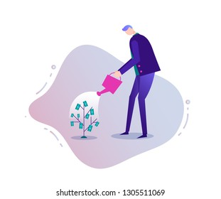 Vector business illustration, stylized character. Investment concept, businessman growing money tree, watering it.