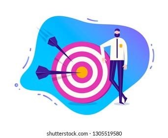 Vector business illustration, stylized character. Man standing near the target with arrows.  Goal achievement illustration