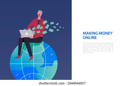 Vector business illustration, stylized characters. Stylized character sitiing on the globe. Earning money in the internet, freelance, business online. Man getting money from the computer