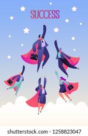 Vector business illustration. Teamwork Concept. Business teamwork. Five flat business heroes man and woman. Flat design style.