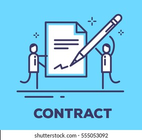 Vector business illustration of two men in suits are holding a big contract and put a signature on it on blue background with title. Signing of a treaty creative linear concept. Flat thin line style