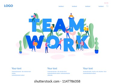 Vector business illustration, for web page, banner, presentation, social media, documents, cards, posters.businessmen together build word teamwork, abstract design graphic, construction business