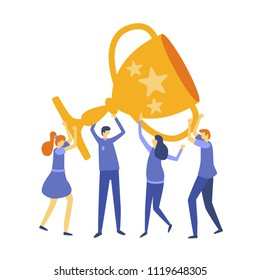 Vector business illustration,success, dream team, team work leadership qualities in a creative team, direction to a successful path, little people holding a large cup, happy for the victory