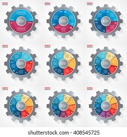 Vector business and industry gear style circle infographic templates for graphs, charts, diagrams with 2, 3, 4, 5, 6, 7, 8, 9, 10 options, parts, steps.