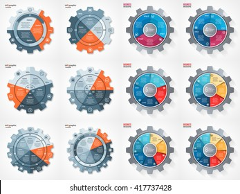 Vector business and industry gear style circle infographic set for graphs, charts, diagrams. Templates with 3, 4, 5, 6, 7, 8 options, parts, steps, processes.