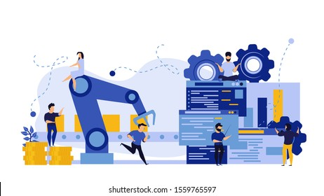 Vector business industry robot factory concept illustration future production process with infographic chart and people. Smart revolution technology machine conveyor line. Robotic system control goods
