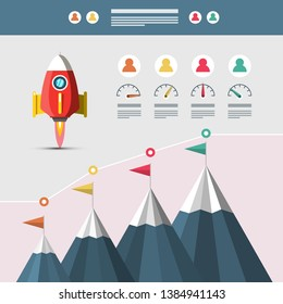 Vector Business Infographic Design with Design Elements, Mountains and Rocket Launch Symbol