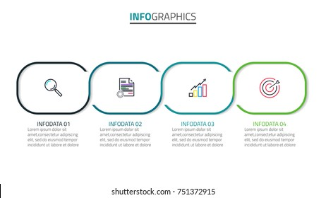 Vector business infographic. Timeline with 4 steps or options and marketing icons. Can be used for workflow layout, diagram, annual report, web design and presentations.