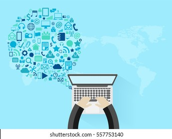 Vector business innovation technology set application icons, With businessman working on laptop computer PC