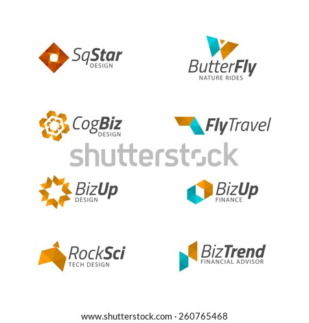 Vector business logo templates abstract geometric stock vector vector business logo templates abstract geometric icon design shapes plane butterfly cog wajeb Gallery