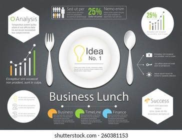 Vector Business lunch with illustration of business plan of business strategy on dark table.