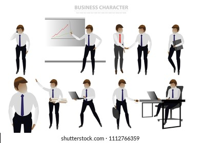 vector business man character on white background