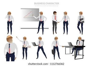 vector business man character on white background.leader government