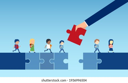 Vector of a business man hand holding a puzzle piece bridging the gap in primary education for children passing by