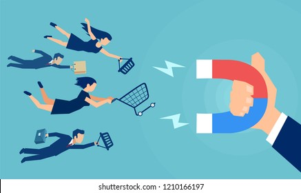 Vector of a business man hand with magnet attracting different customers with bags and carts.